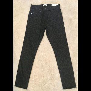 Loft gray and black cheetah print skinny jeans